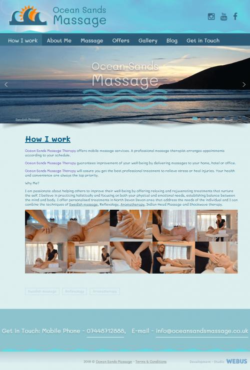 Нашою веб-студією розроблений сайт-візитка ліцензійного масажиста